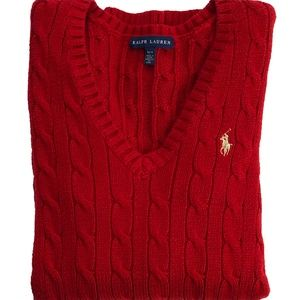 NWOT Ralph Lauren Red Cable V-Neck Logo Sweater M